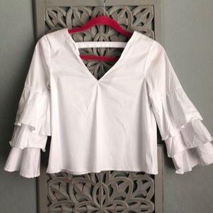 ZARA Ruffle Sleeve White Cotton Top